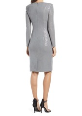 Vince Camuto Sequin Long Sleeve Sheath Cocktail Dress