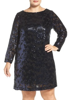 Vince Camuto Sequin Long Sleeve Shift Dress (Plus Size)