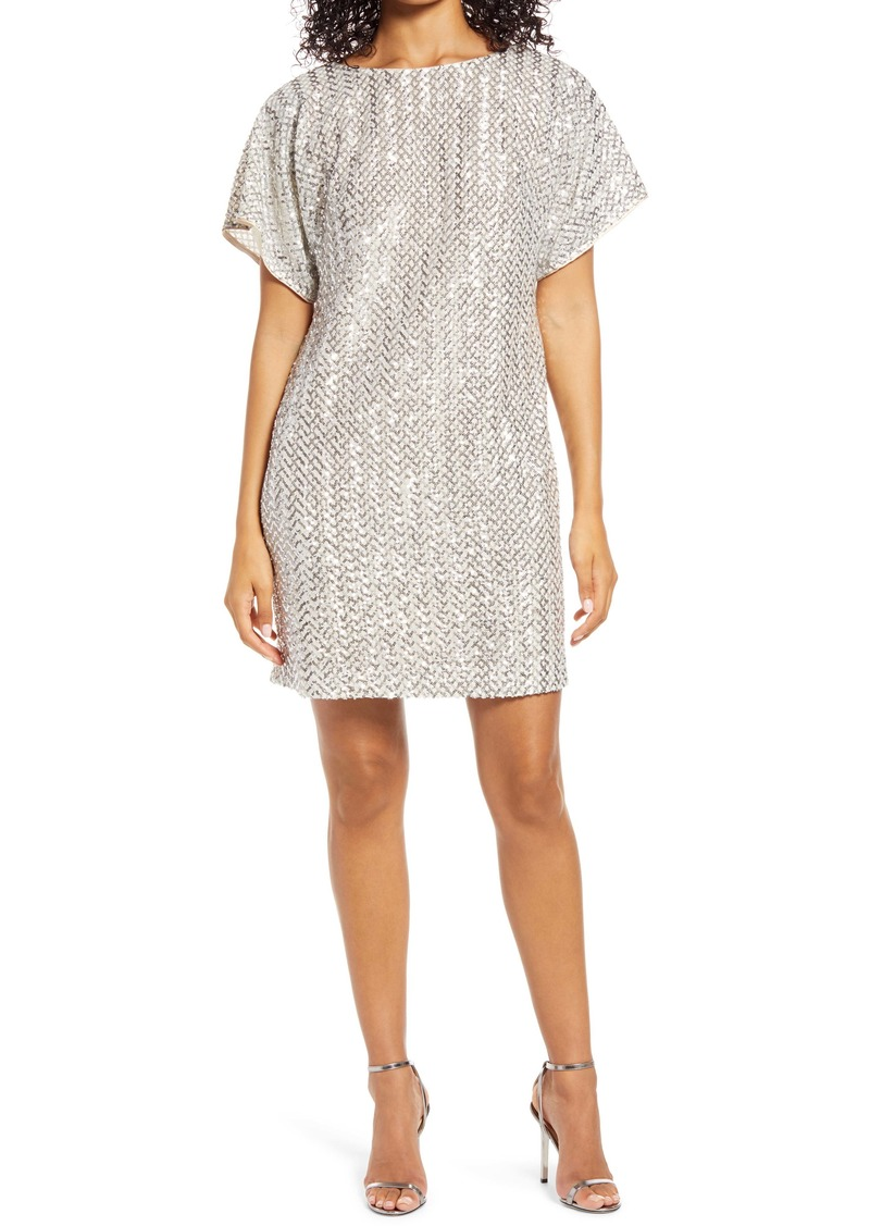 Vince Camuto Sequin Short Sleeve Shift Dress