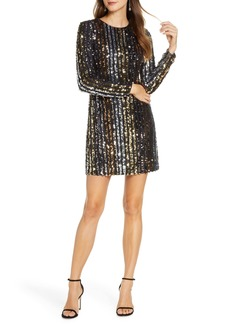 Vince Camuto Sequin Stripe Long Sleeve Shift Dress