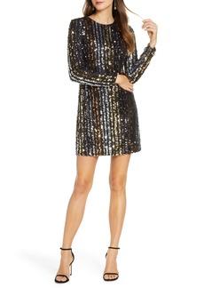 Vince Camuto Sequin Stripe Long Sleeve Shift Dress
