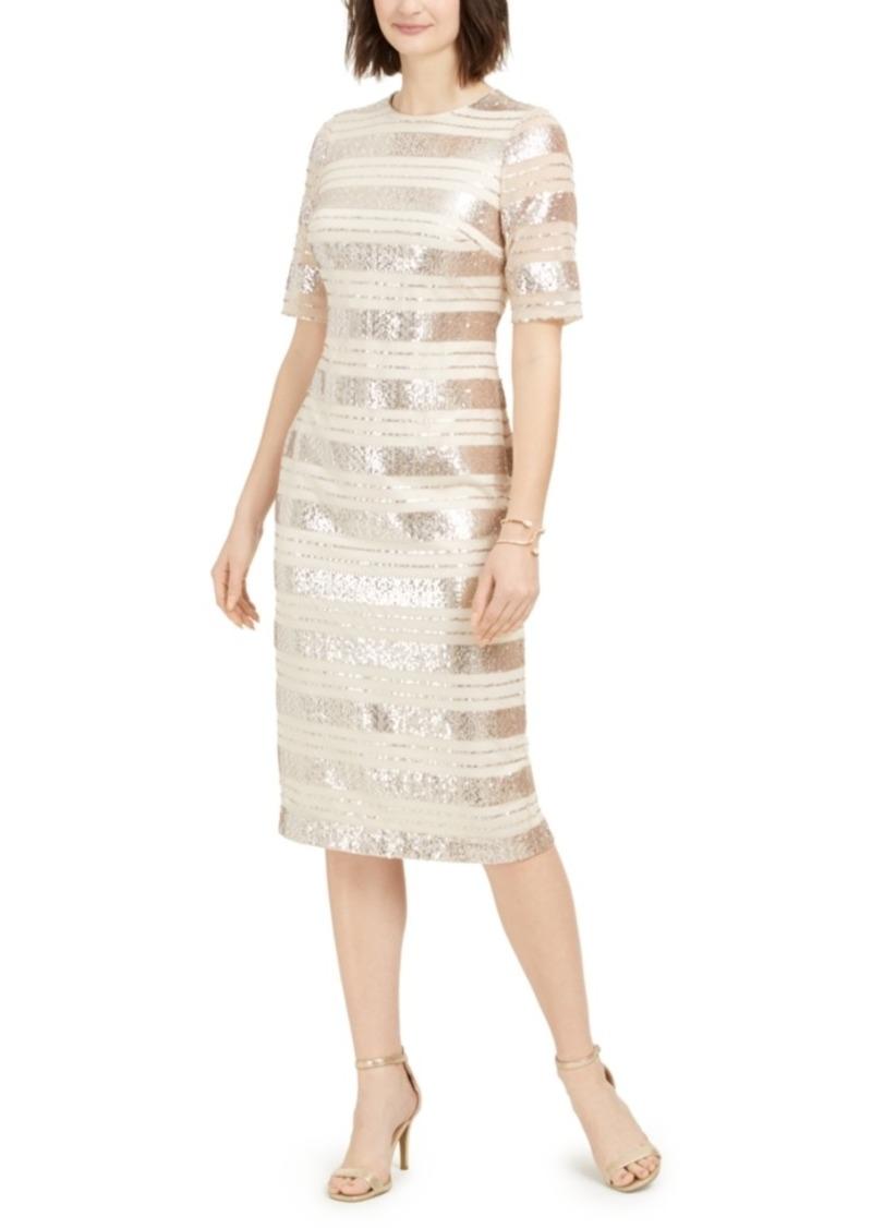 Vince Camuto Sequin-Stripe Midi Dress