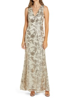 Vince Camuto Sequin V-Neck Trumpet Gown