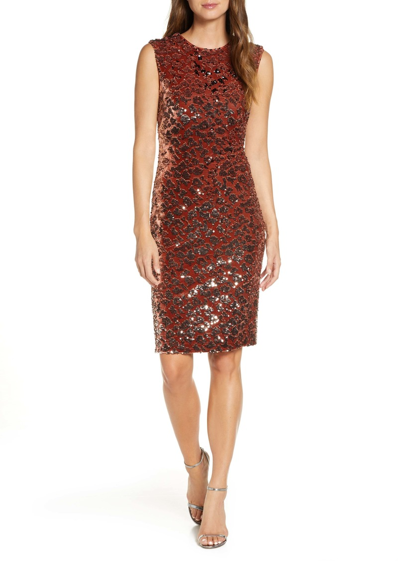 Vince Camuto Sequin Velvet Sheath Dress