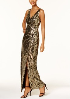Vince Camuto Sequined A-Line Gown