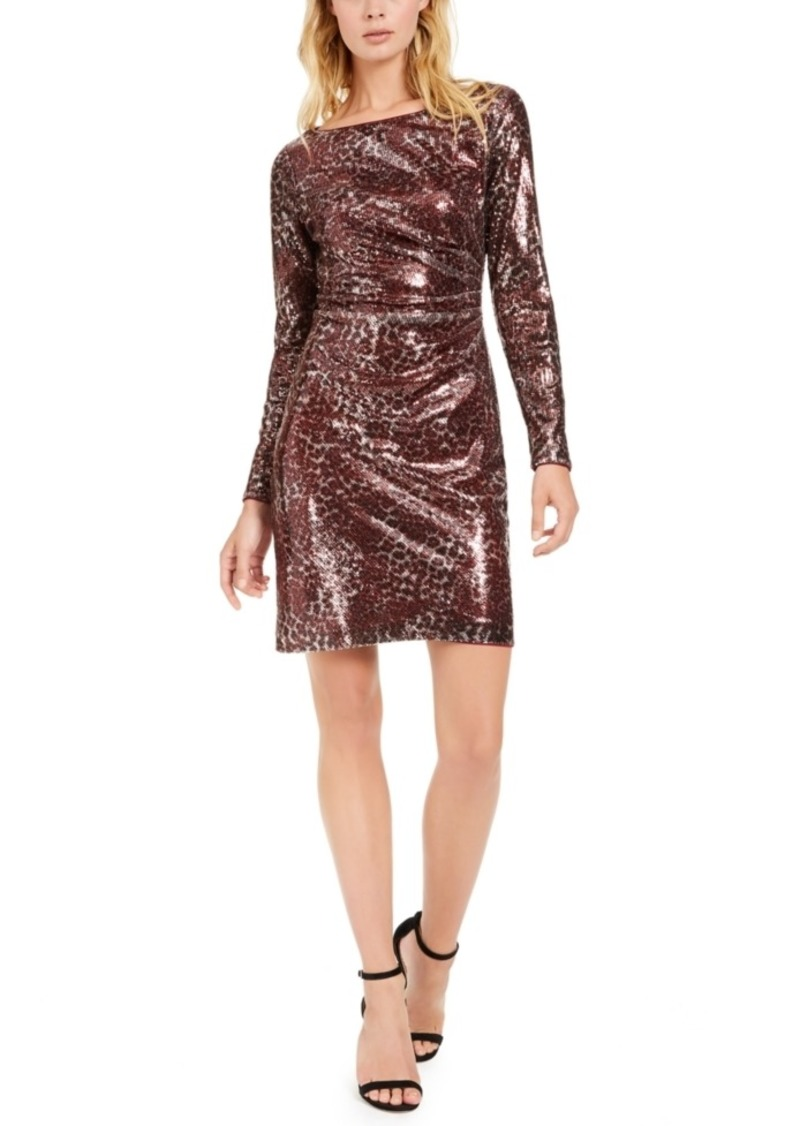 Vince Camuto Sequined Animal-Print Sheath Dress