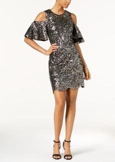 Vince Camuto Sequined Cold-Shoulder Dress