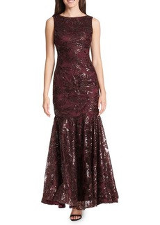 Vince Camuto Sequined Floral Lace Flare Gown
