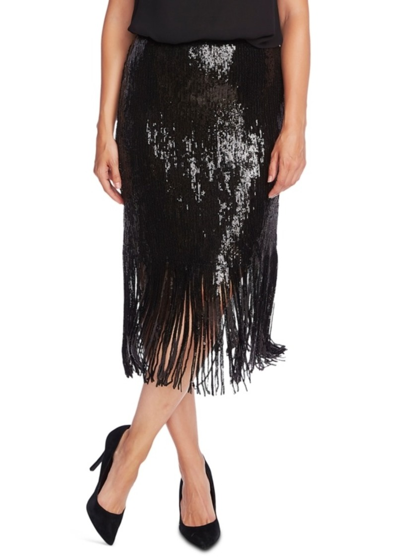 Vince Camuto Sequined Fringed Skirt