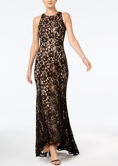 Vince Camuto Sequined Lace Godet-Pleat Gown