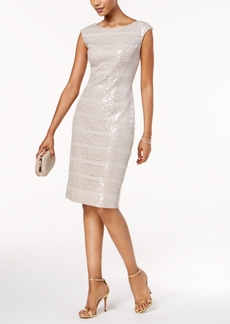 Vince Camuto Sequined Lace-Stripe Dress