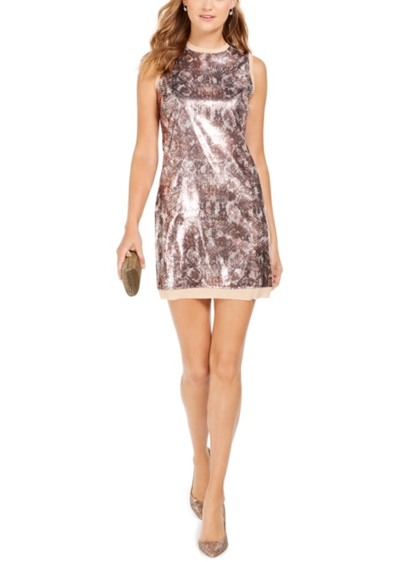 Vince Camuto Sequined Snake-Embossed Shift Dress