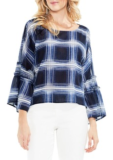 Vince Camuto Shadow Plaid Pleated Sleeve Blouse