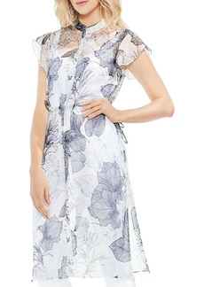 VINCE CAMUTO Sheer Flutter-Sleeve Floral-Print Tunic