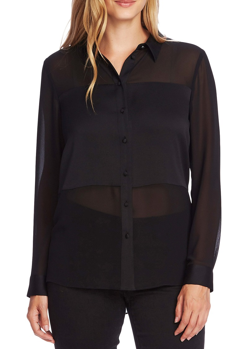 Vince Camuto Sheer Panel Button-Up Long Sleeve Blouse