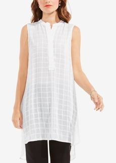 Vince Camuto Sheer Plaid Henley Tunic