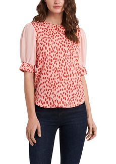 Vince Camuto Sheer Puff Sleeve Top