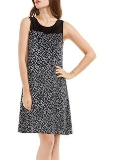 Vince Camuto Sheer Yoke Dot A-Line Dress