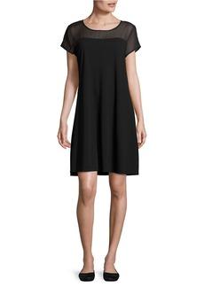 VINCE CAMUTO Sheer-Yoke Short-Sleeve Dress