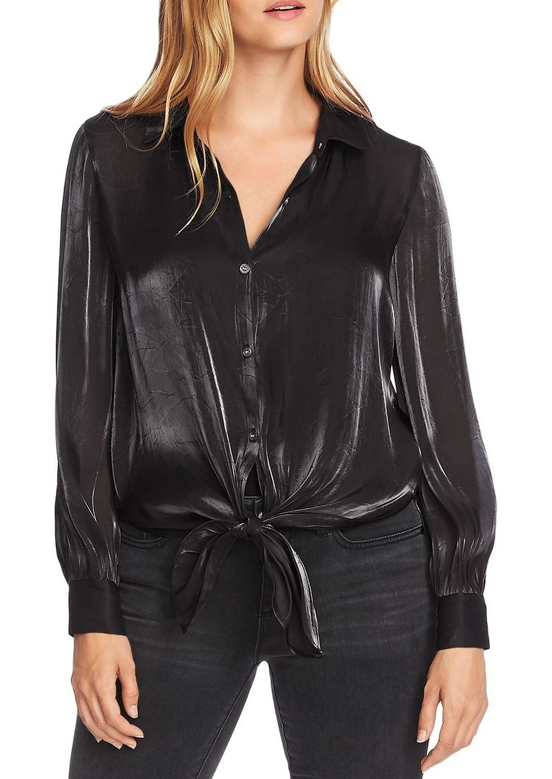 VINCE CAMUTO Shimmer Tie-Front Top