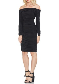 Vince Camuto Shirred Matte Jersey Body-Con Dress