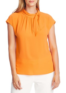 Vince Camuto Shirred Tie Neck Blouse
