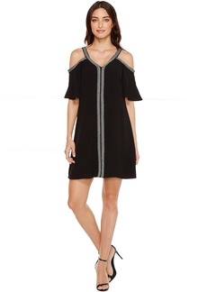 Vince Camuto Short Sleeve Cold-Shouler Dress w/ Ribbon Trim
