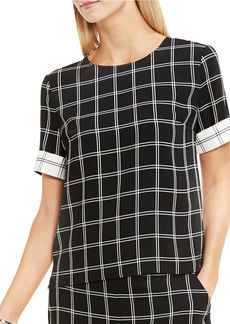 VINCE CAMUTO Short Sleeve Cuffed Windowpane Blouse