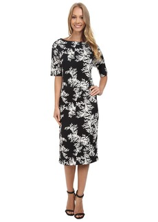 Vince Camuto Short Sleeve Delicate Foliage Scuba Midi Dress