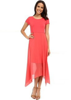 Vince Camuto Short Sleeve Dress w/ Shark Bite Chiffon Overlay