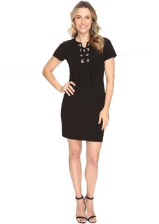 Short Sleeve Dress with Front Grommet Lace-Up