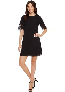 Vince Camuto Short Sleeve Embroidered Shift Dress