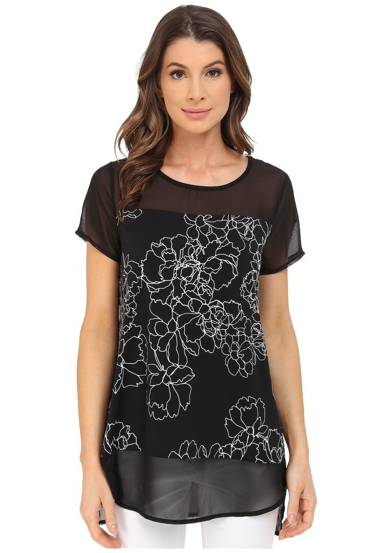 Vince Camuto Short Sleeve Floral Contour Mix Media Top