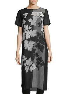Vince Camuto Short-Sleeve Floral-Print Tunic