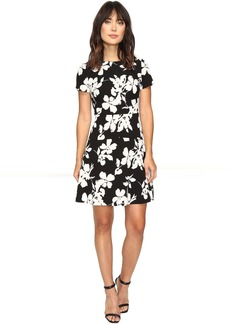 Vince Camuto Short Sleeve Fresco Blooms Flare Dress