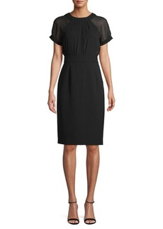 Vince Camuto Short Sleeve Illusion Sheath Dress
