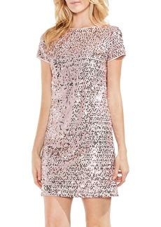 Vince Camuto Short-Sleeve Mini Paillet Dress