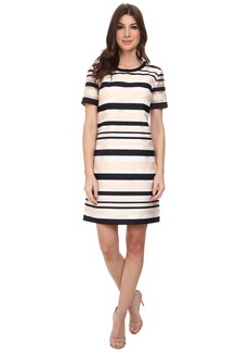 Vince Camuto Short Sleeve Organza Stripe Shift Dress