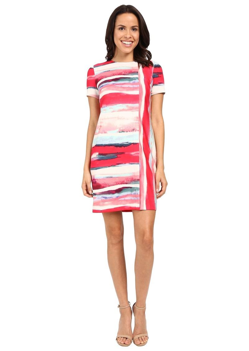 Vince Camuto Short Sleeve Printed Scuba Shift Dress