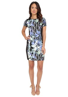 Vince Camuto Short Sleeve Sheath with Combo Sides
