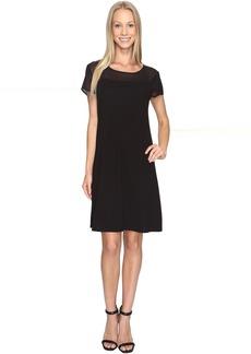 Vince Camuto Short Sleeve Sheer Yoke Flare Dress