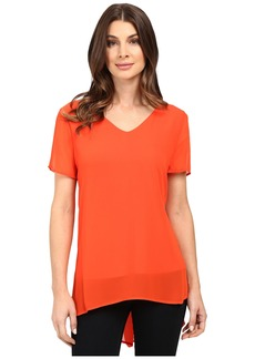 Vince Camuto Short Sleeve Shirt Tail V Blouse with Knit Underlay