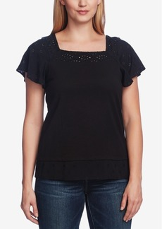 Vince Camuto Short Sleeve Square Neck Embroidered Layered Top