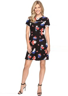 Vince Camuto Short Sleeve Travelling Blooms Flare Dress