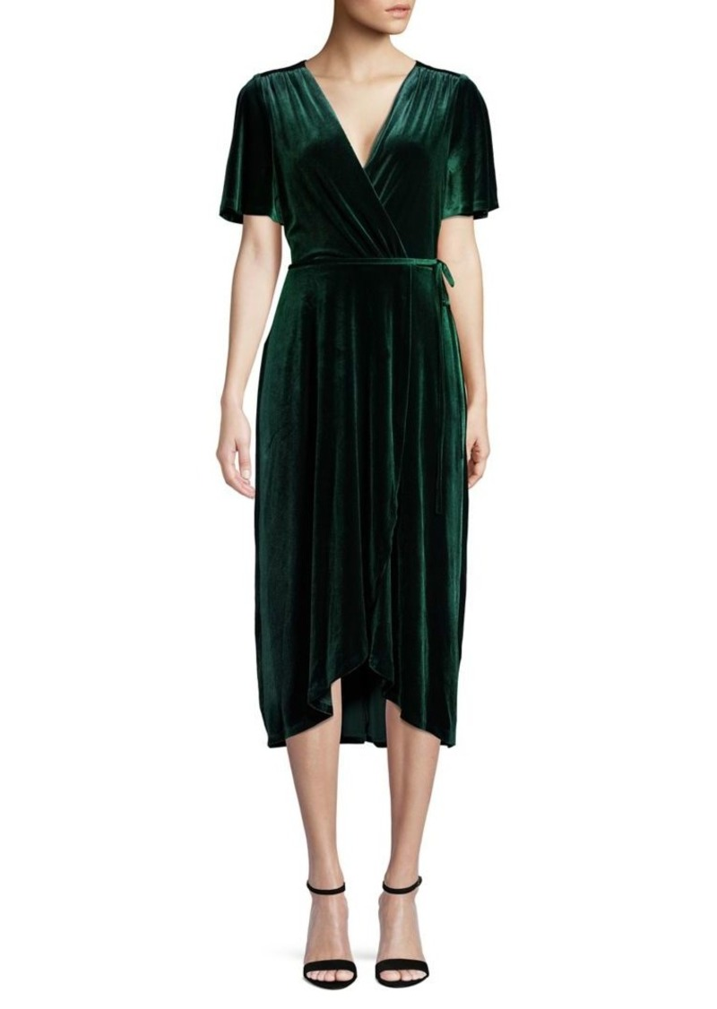 Vince Camuto Short-Sleeve Velvet Wrap Dress