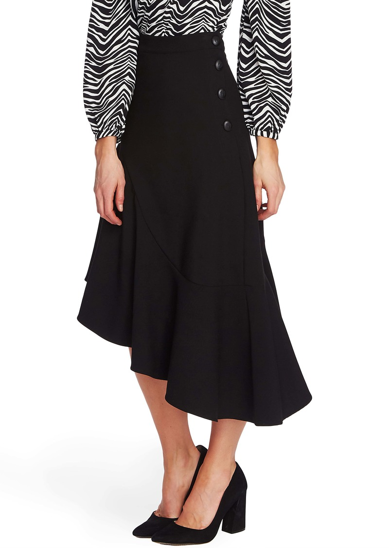Vince Camuto Side Button Asymmetrical Stretch Crepe Skirt