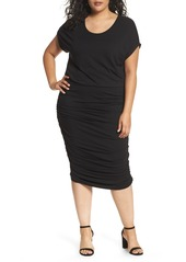 Vince Camuto Side Ruched Jersey Midi Dress (Plus Size) (Nordstrom Exclusive)