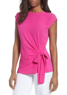 Vince Camuto Side Tie Mixed Media Top (Petite)
