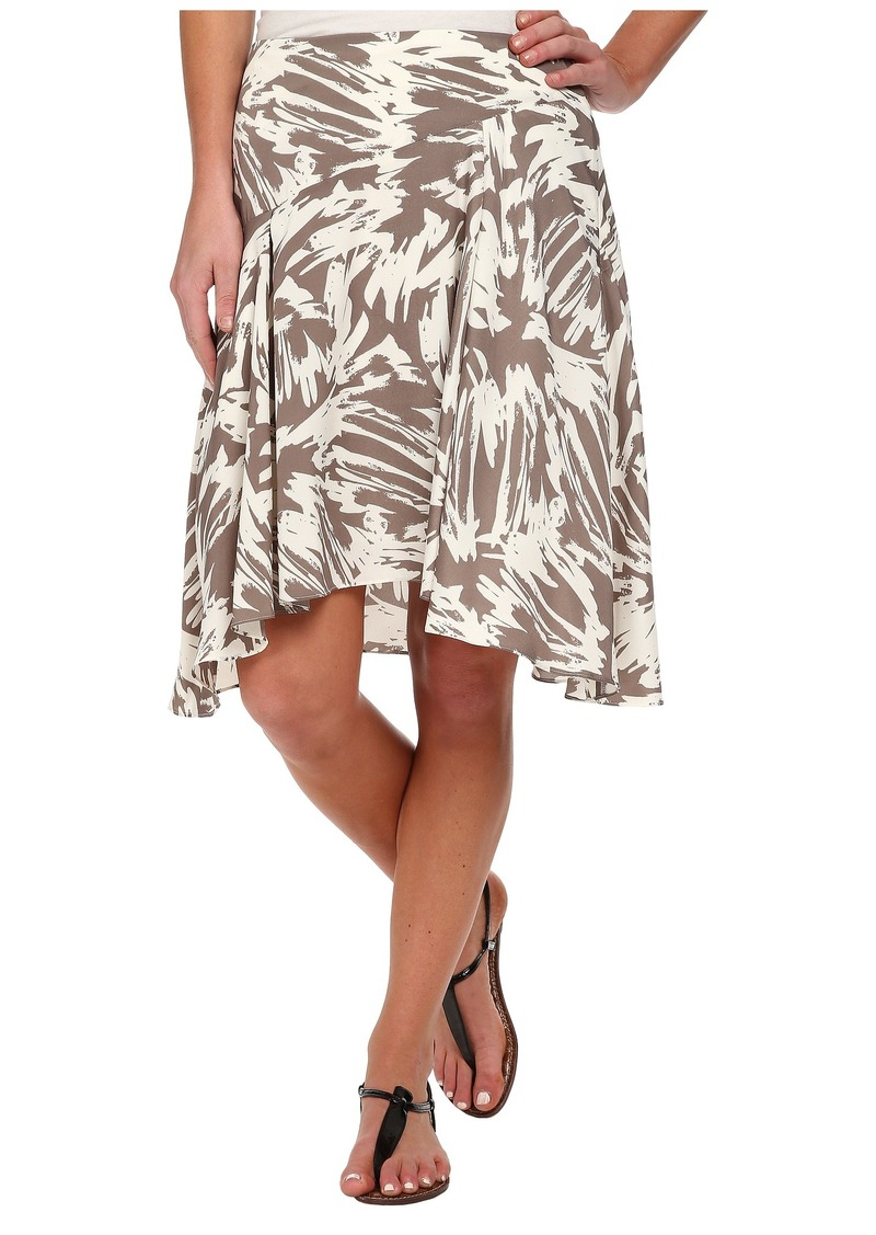 Vince Camuto Side Zip Asymmetrical Flounce Floral Burst Skirt