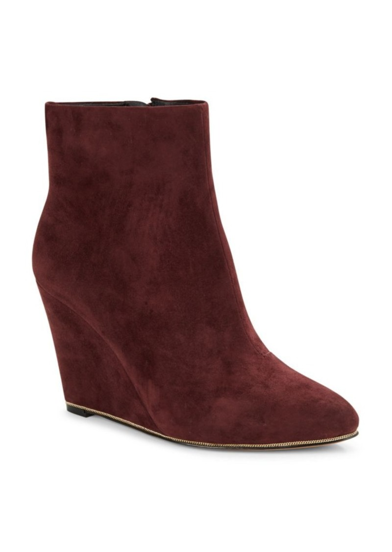 Vince Camuto Biffy Chain-Trimmed Suede Wedge Ankle Boots